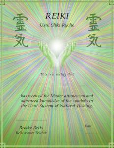 Reiki Master Class certificate